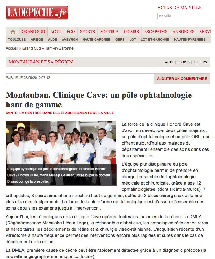 La DEPECHE - Clinique Honoré Cave
